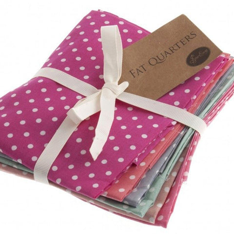 Fat Quarter Bundle, Polka Dots Cotton Fabrics, 6 Different Coloured Polka Dot Fat Quarters