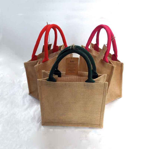 Coloured Jute Bags, Sustainable Natural Jute Bags with Bright Pink, Green or Red Handles, Eco-Friendly Bag - Fabric and Ribbon
