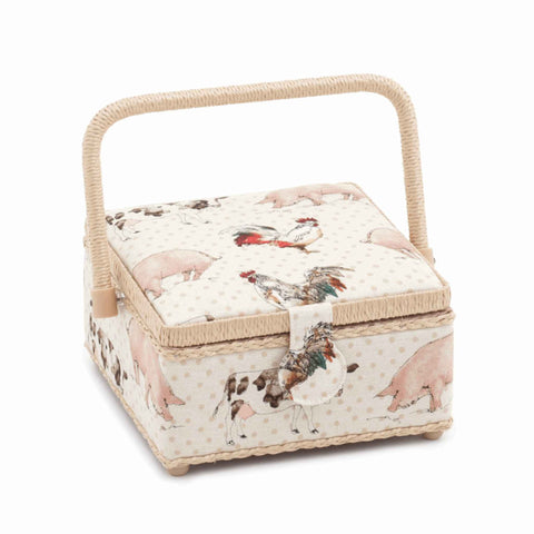 Farmyard Small Square Sewing Box, Hobby Gift  HGS\308