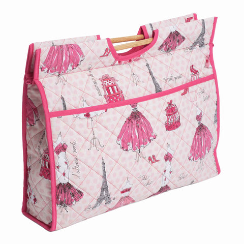 Pink Fashion Week Craft Bag with Wooden Handles: Paris and Fashion Storage Bag, Hobby Gift  HGCB/208 - Fabric and Ribbon