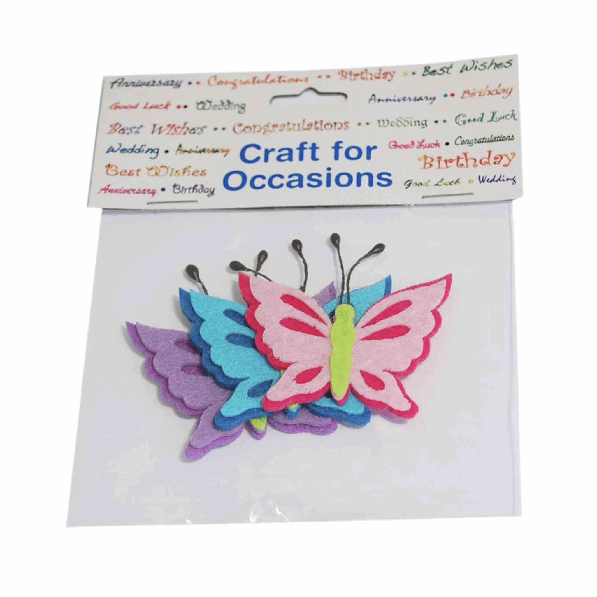 Felt Butterflies Craft Embellishments, Pack of 3, Trimits C2201