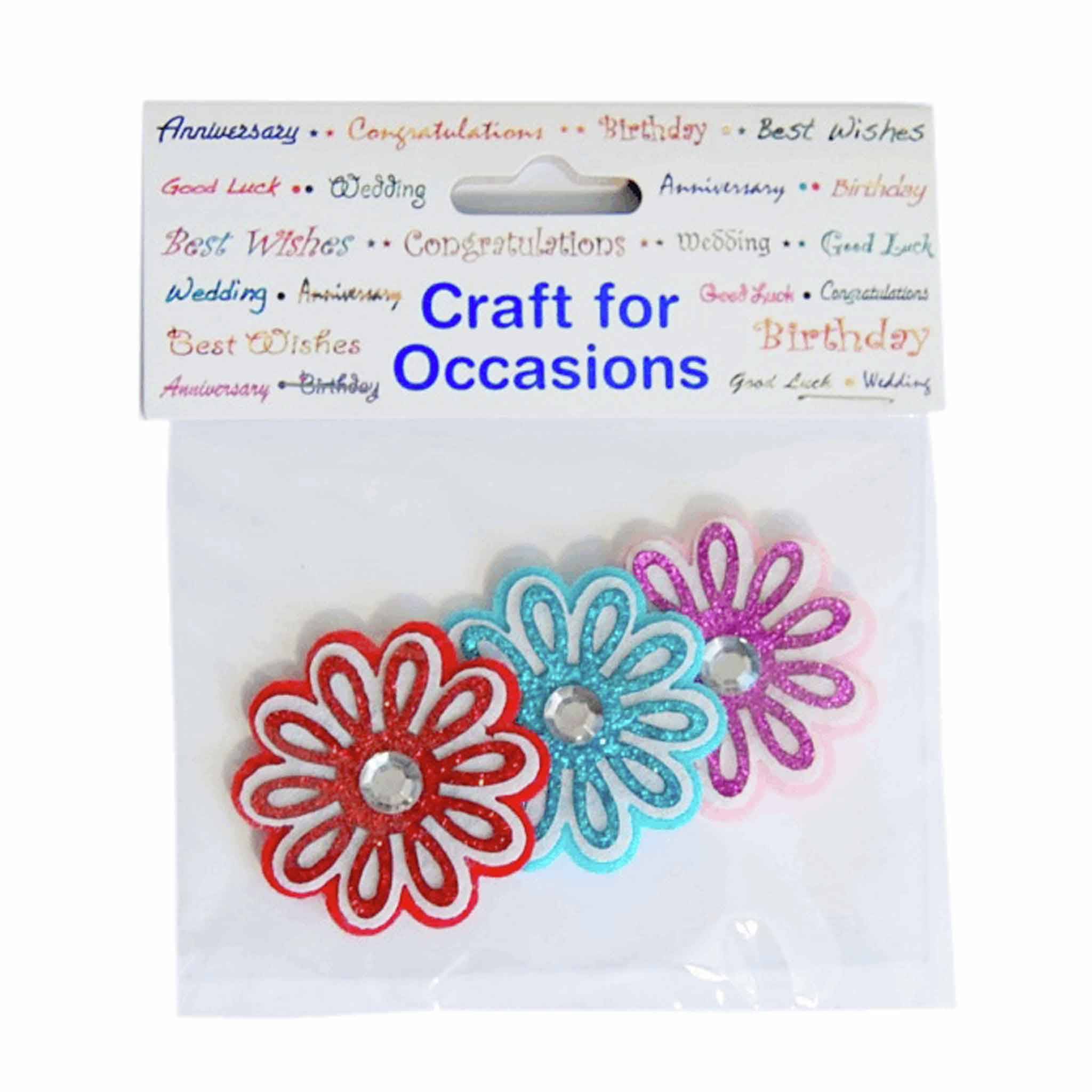 Felt Flowers with Diamante Craft Embellishments, Pack of 3, Trimits C2244