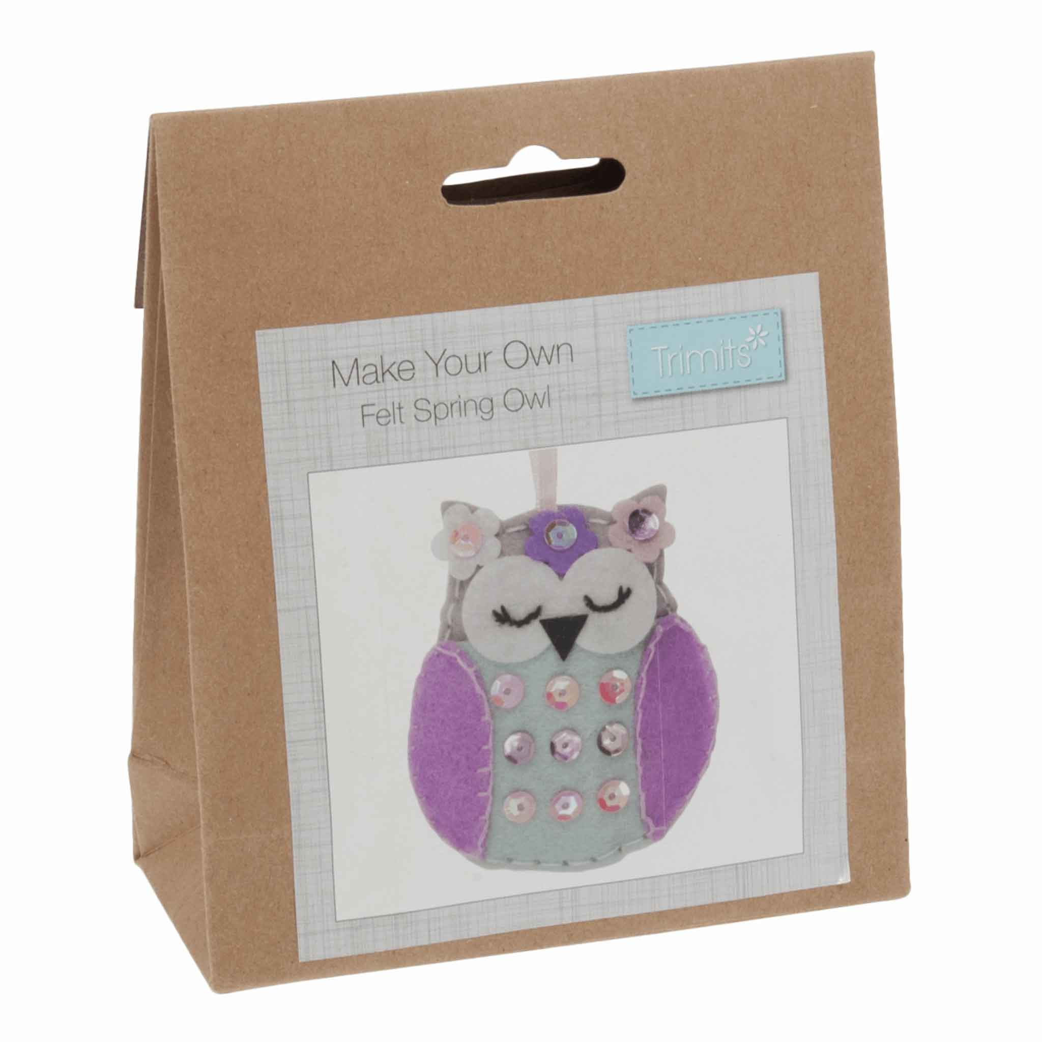 Felt Spring Owl Kit, Make Your Own Owl, GCK037 - Fabric and Ribbon