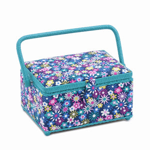 Blue Flower-A-Plenty Medium Rectangle Sewing Box, Hobby Gift HGM/278 - Fabric and Ribbon