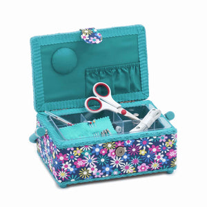 Blue Flower-A-Plenty Sewing Box, Small Rectangle Sewing Box plus Haberdashery, Hobby Gift  HGSRF/278 - Fabric and Ribbon