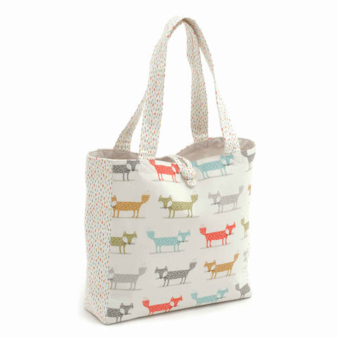 Foxy Dash Shoulder Craft Bag, Coloured Foxes on White Storage Bag, Hobby Gift  HGSHB/364 - Fabric and Ribbon
