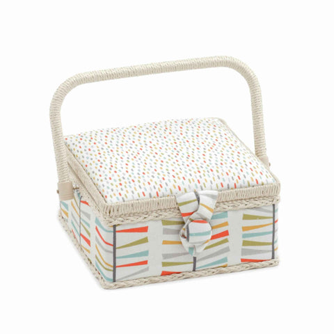 Foxy Dash Sewing Box, Small Square Sewing Box, Coloured Foxes on White Design, Hobby Gift  HGS\364