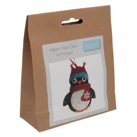 Felt Penguin Kit, Make Your Own Christmas Penguin, GCK004 - Fabric and Ribbon