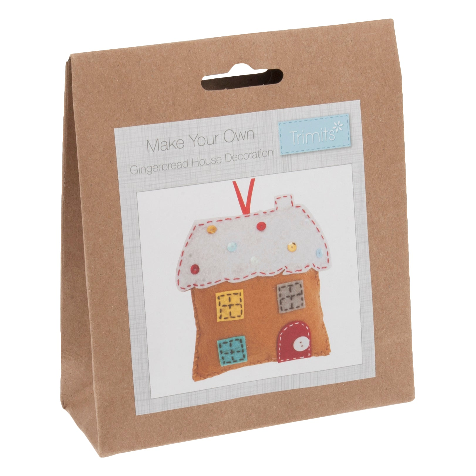 Felt Gingerbread House Kit, Make Your Own Xmas Gingerbread House, GCK027 - Fabric and Ribbon