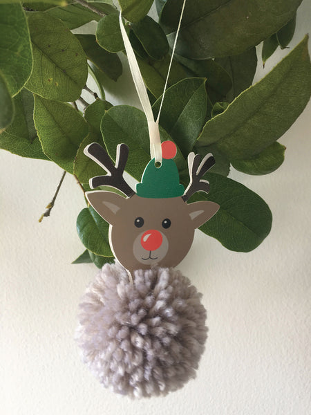 Reindeer Pom Pom Kit, Kid's Make Your Own Pom Pom Xmas Reindeer Decoration - Fabric and Ribbon