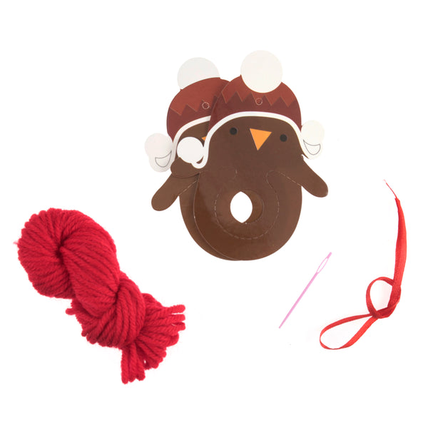 Robin Pom Pom Kit, Kid's Make Your Own Pom Pom Xmas Robin Decoration - Fabric and Ribbon