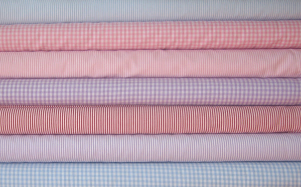Pink Stripe Cotton Fabric, Pink and White Narrow Striped Cotton Fabric - Fabric and Ribbon