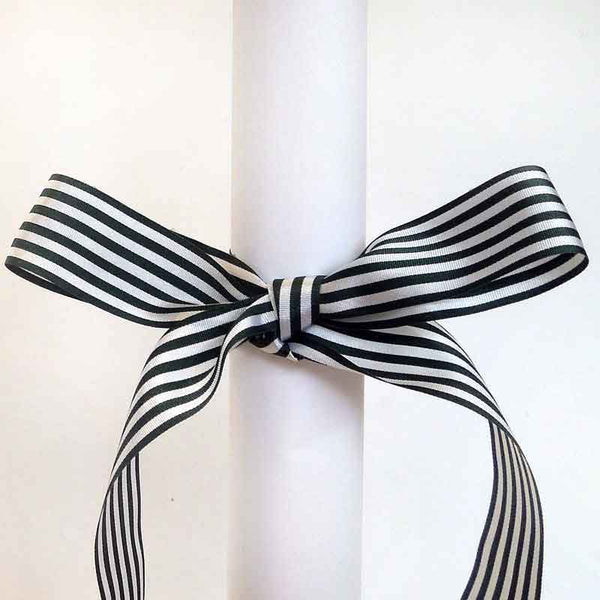 Dark Green and White Striped Ribbon, 9 mm, 16 mm, 25 mm Width