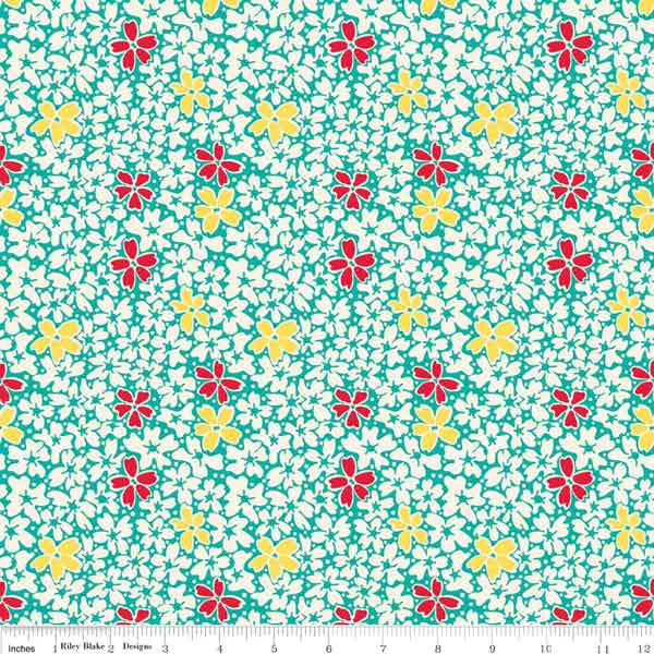 Flower Fabric, Hope Floral Teal Fabric by Riley Blake part of their Hope Chest Collection