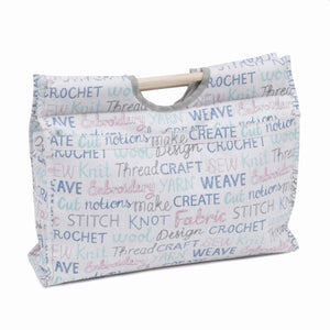 Haby Words Craft Bag with Wooden Handles: Haberdashery Storage Bag, Hobby Gift MR4687\439