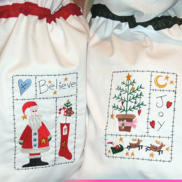 Personalised Christmas Toy Sack, Personalised White Christmas Tree Drawstring Bag, Embroidered Xmas Toy Sack - Fabric and Ribbon