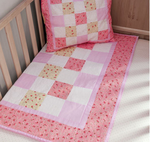 Pink Baby Quilt Making Kit by BeeCrafty Designs from Sarah Payne - Fabric and Ribbon