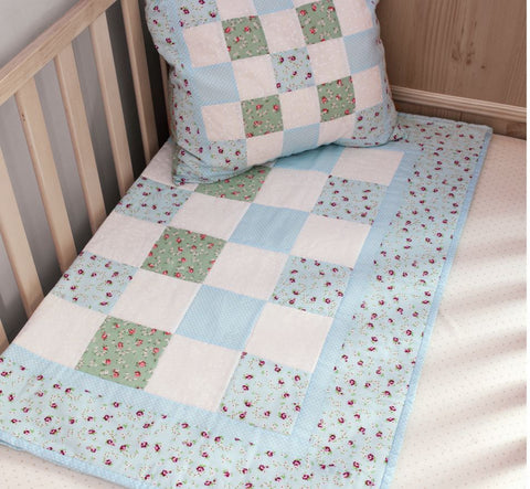 Blue Baby Quilt Making Kit by BeeCrafty Designs from Sarah Payne - Fabric and Ribbon