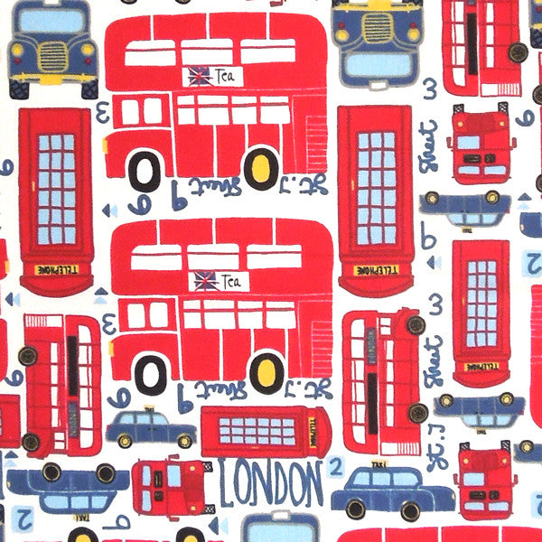 London Fabric, Kid's London Patterned Cotton Fabric, Red London Bus and Taxi Fabric