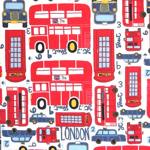 Red London Cotton Fabric, Red London Bus and Taxi Fabric