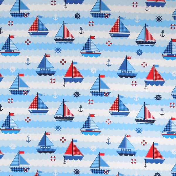 Kid's Blue and Red Nautical Yachts and Boats Cotton Fabric