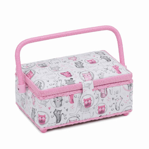 Pink Meow Sewing Box, Small Rectangle Sewing Box, Pink and White Fun Pink Cat Design, Hobby Gift  HGSR/466