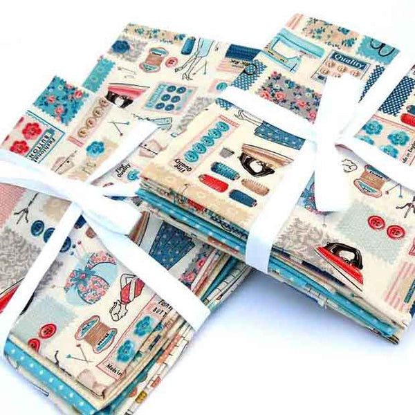 Sewing Notions Fat Quarter Bundle by Makower, 4 Sewing and Patterned Fabric Fat Quarter Pack