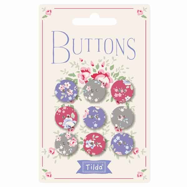 Tilda 15 mm Buttons, Old Rose Collection, 400029 Pack of 9 Tilda Fabric Covered Buttons - Fabric and Ribbon
