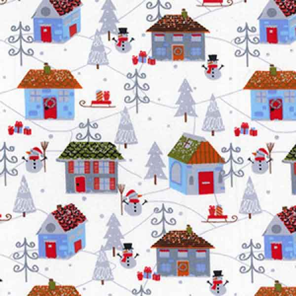 Christmas Winter Wonderland Fabric by Rose & Hubble, Xmas Silver Snowmen Fabric