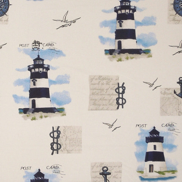 Lighthouse and Anchors Patterned Cotton Fabric, Nautical Lighthouse Postcard Cotton Fabric