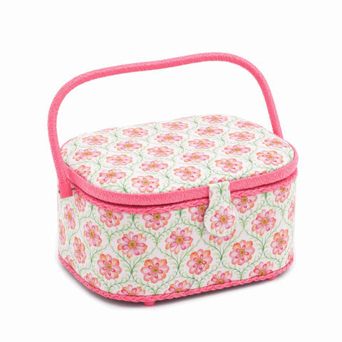 Pink Blossoming Trellis Large Oval Sewing Box, Hobby Gift HGLO\279