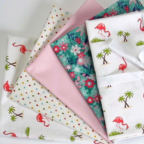 Pink Flamingo on White Fat Quarter Bundle by Makower and Riley Blake, 4 Cotton Fat Quarters