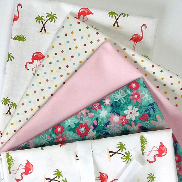 Pink Flamingo on White Fat Quarter Bundle by Makower and Riley Blake, 4 Cotton Fat Quarters - Fabric and Ribbon