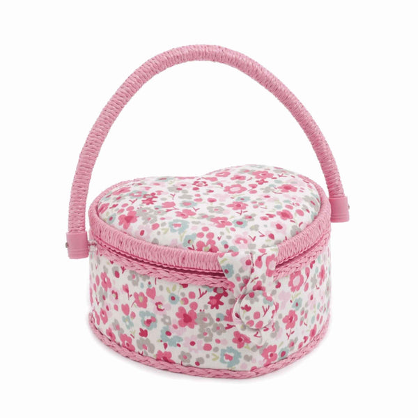 Pink Raspberry Small Heart Sewing Box, Hobby Gift  HGSH\358 - Fabric and Ribbon