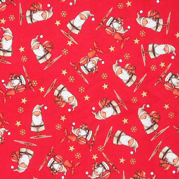 Red Father Christmas and Reindeer Cotton Fabric, Xmas Santa and Rudolph Fabric