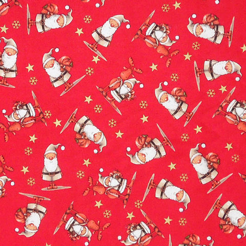Red Father Christmas and Reindeer Cotton Fabric, Festive Santas and Rudolph Pure Cotton Xmas Fabric