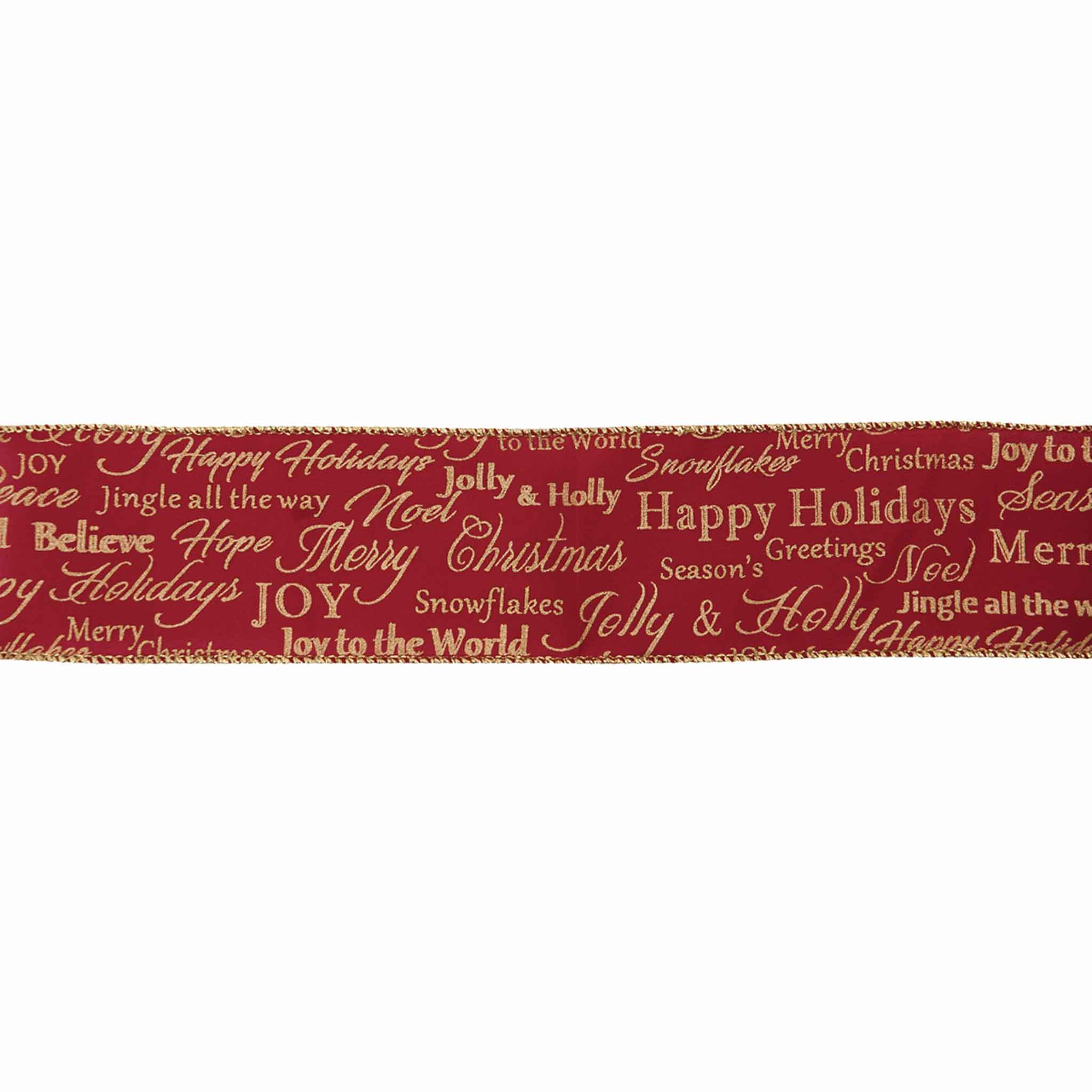 63 mm Red Merry Christmas Glitter Wired Ribbon