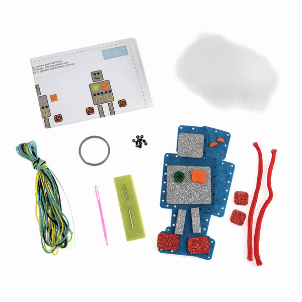 Felt Robot Key Ring Kit, Make Your Own Robot, GCK084 - Fabric and Ribbon