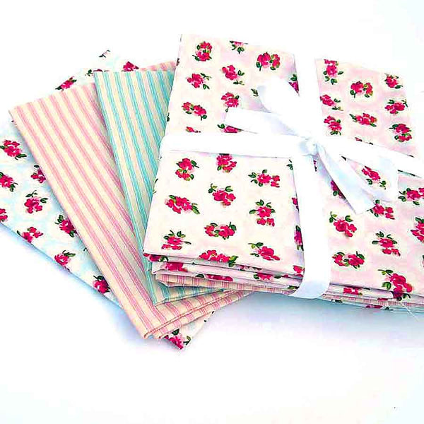 Pink and Blue Rose Fat Quarter Bundle by Rose & Hubble, 4 Different Pink and Blue Rose and Striped Fabric Fat Quarter Pack - Fabric and Ribbon