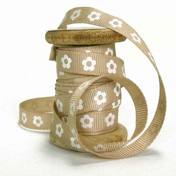 Sand brown flower 10 mm ribbon on spool