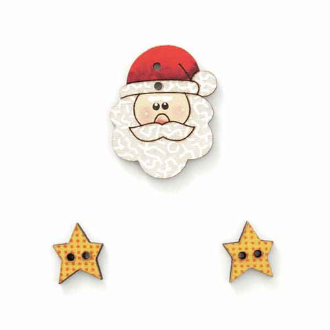 25 mm Xmas Santa with Stars Wooden Buttons, Father Christmas and 2 Star Fabric Covered Buttons - Fabric and Ribbon