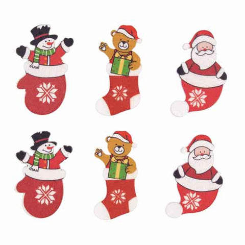 Wooden Santa, Snowmen and Xmas Bear Stick On Card Making Pack, Kid's Christmas Card and Scrapbook Pack - Fabric and Ribbon