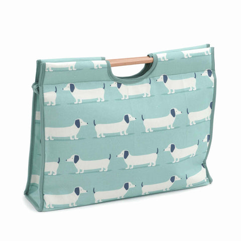 Blue Sausage Dog Craft Bag with Wooden Handles: Hound Dog Duck Egg Storage Bag, Hobby Gift  HGCB/369 - Fabric and Ribbon