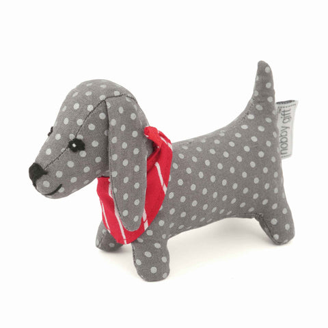 Sausage Dog Pin Cushion, Grey Puppy Love Design, Hobby Gift PCSD\512 Pin Cushion - Fabric and Ribbon