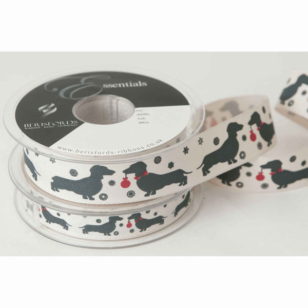 15 mm Christmas Sausage Dogs Ribbon by Berisfords