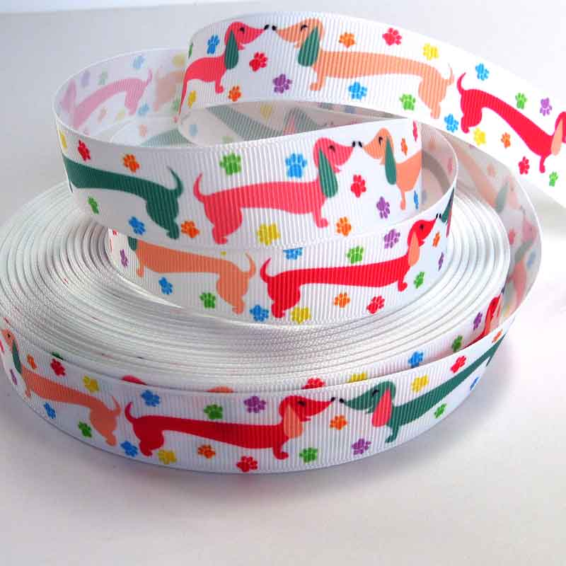22 mm Dachshund Grosgrain Ribbon, 7/8 inch Sausage Dog on White Grosgrain Tape - Fabric and Ribbon