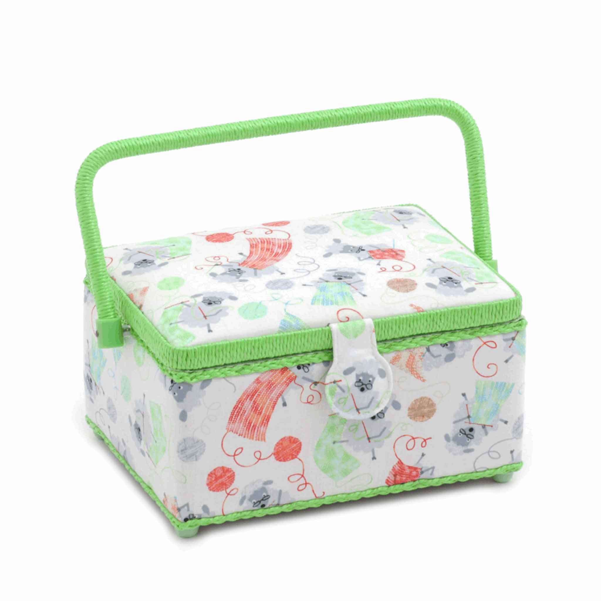 Knitting Sheep Sewing Box, Medium Rectangle Sewing Box, Green and White Fun Sheep Design, Hobby Gift  HGM/328