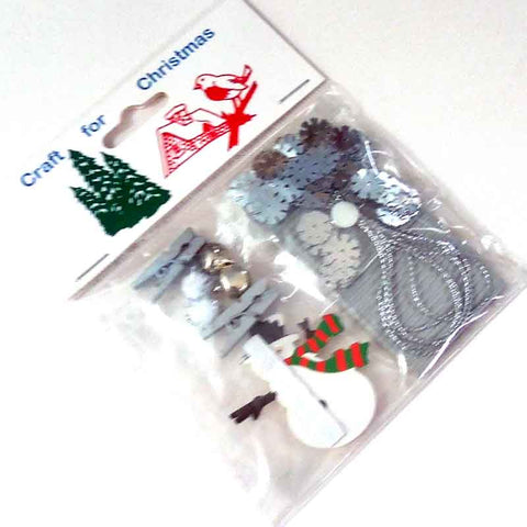 Silver Snowman Card Making Pack, Kid's Snowman Card, Scrapbooking and Gift Wrap Pack - Fabric and Ribbon