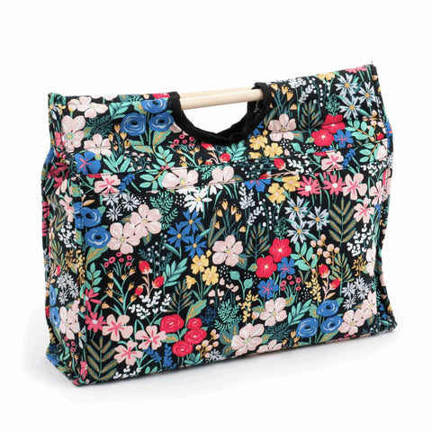 Summertime Craft Bag with Wooden Handles: Summer Flowers Storage Bag, Hobby Gift MR4687\274