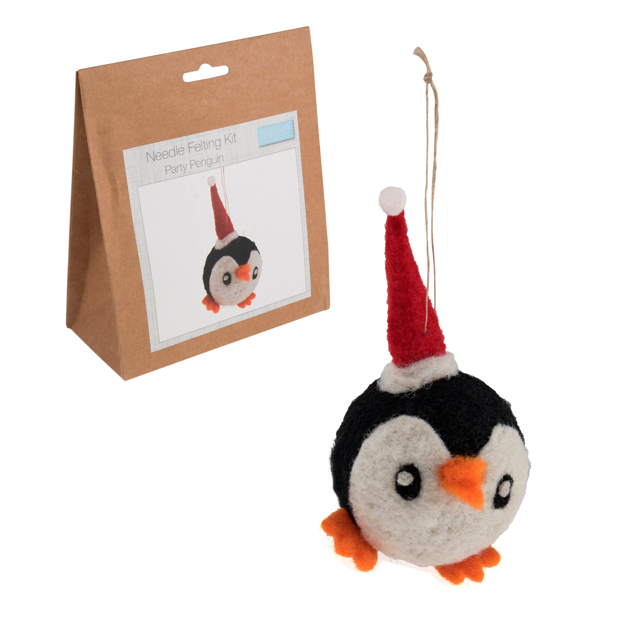 Needle Felting Party Penguin Kit, Make Your Own Penguin, TCK007 - Fabric and Ribbon